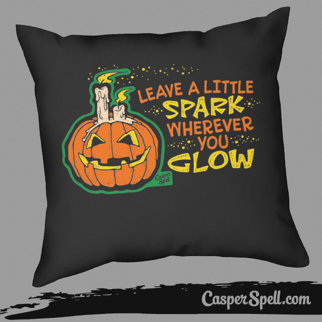 Retro Vintage Halloween Pillow Casper Spell