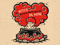 Stupid Cupid Valentines Witch Love Potion Cauldron Heart