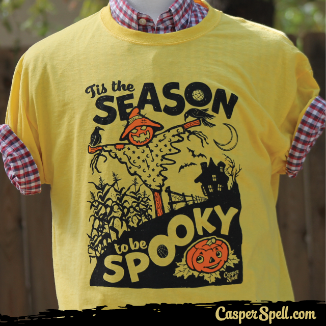 Tis the season to be spooky vintage halloween scarecrow pumpkin shirt casper spell