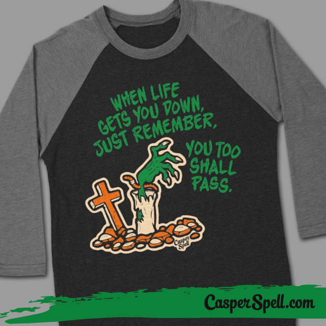 Threadless Halloween Retro Baseball Tshirt Vintage Casper Spell