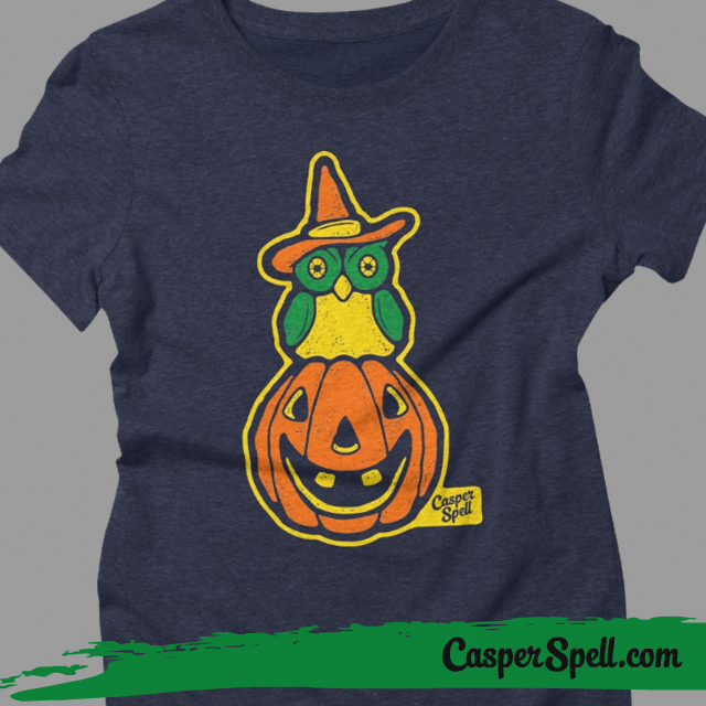 Ladies Fitted Tee Retro Vintage Style Halloween Witch Owl jackolantern shirt casper spell