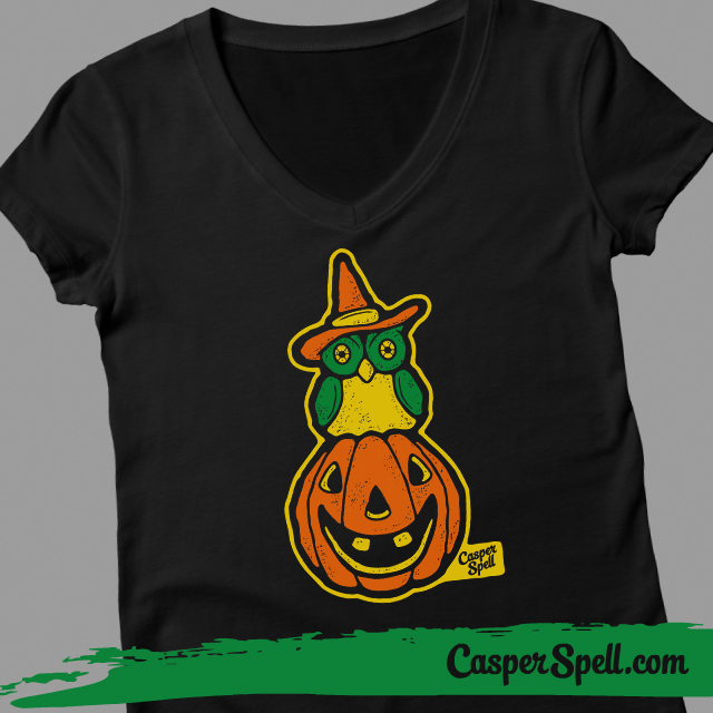 Ladies fitted vneck Retro Vintage Style Halloween Witch Owl jackolantern shirt casper spell