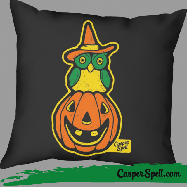 Vintage Halloween Decorations Throw Pillows Retro Witch Owl Casper Spell